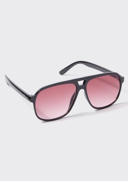 black aviator rose lens sunglasses - Main Image