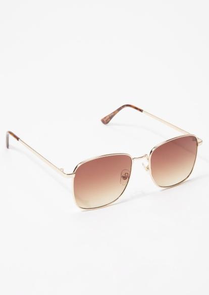 gold square ombre lens sunglasses - Main Image