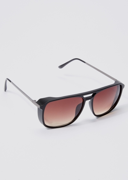black brow bar shield sunglasses - Main Image