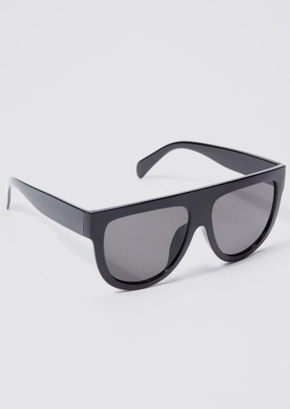 black plastic frame shield sunglasses - Main Image