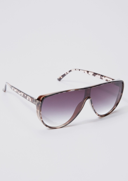 speckled ombre lens shield sunglasses - Main Image