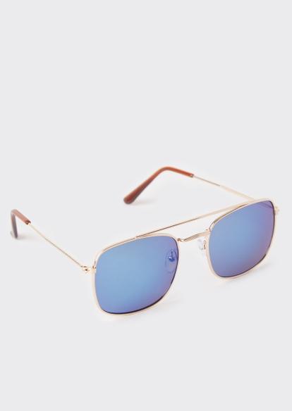blue lens aviator sunglasses - Main Image