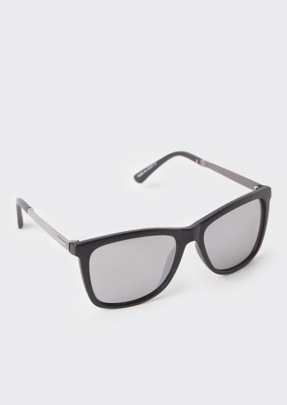 black matte mirror lens sunglasses - Main Image