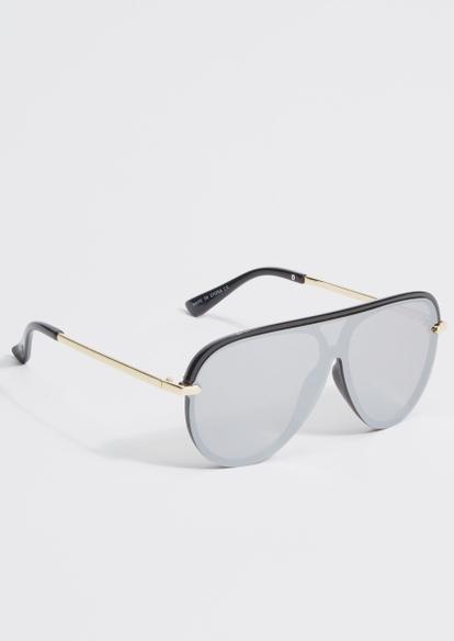 silver lens gold hardware shield sunglasses - Main Image