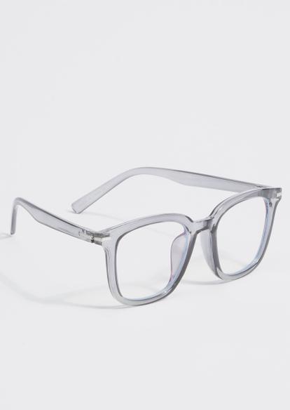 gray clear frame blue light glasses - Main Image