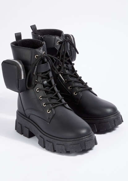 black chunky lug sole lace up pouch booties - Main Image