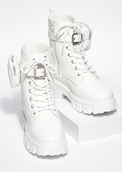white chunky lug sole lace up pouch booties - Main Image