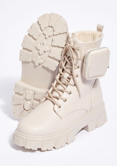 beige chunky lug sole lace up pouch booties - Main Image