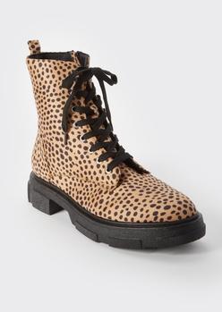 cheetah print combat boots - Main Image