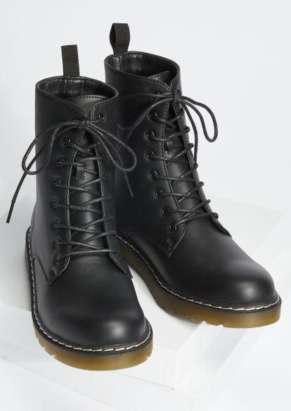 black faux leather combat boots - Main Image