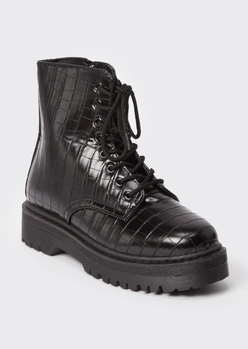 black crocodile platform ankle combat boots - Main Image