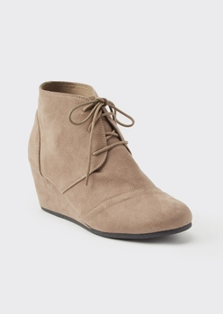 taupe faux suede wedge booties - Main Image