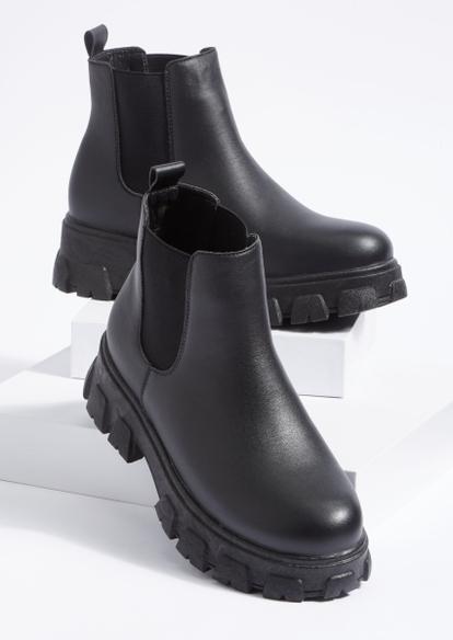 black chunky platform lug sole boots - Main Image