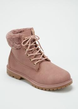 mauve faux fur trim work boots - Main Image