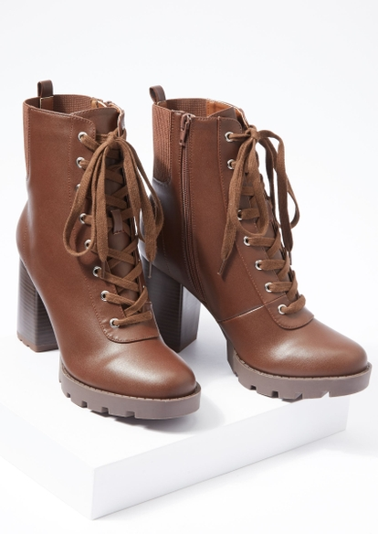 brown faux leather lace up heeled boots - Main Image
