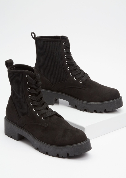 black ribbed lace up combat boots - Main Image