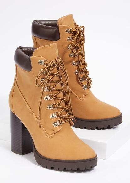 camel lug heeled hiker boots - Main Image