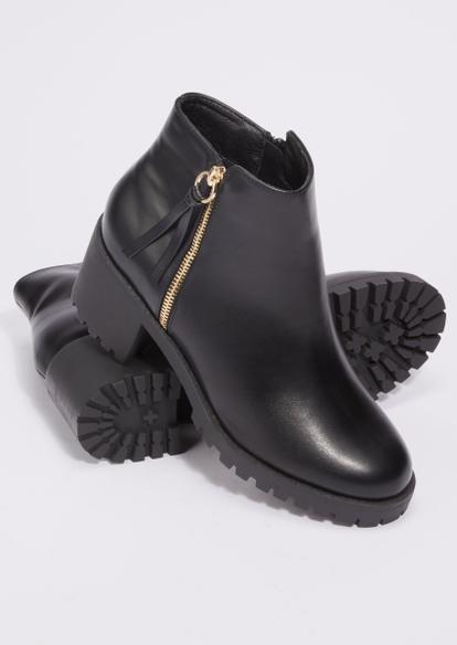 black faux leather chunky lug heel booties - Main Image