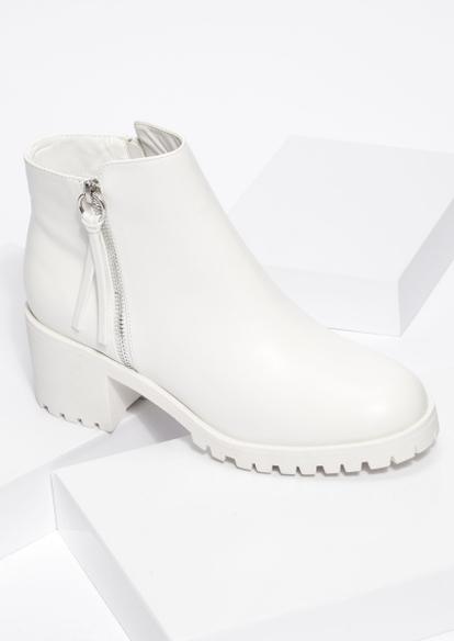 white faux leather chunky lug heel booties - Main Image