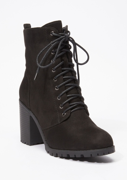 black faux suede lace up stack heel hiker bootie - Main Image