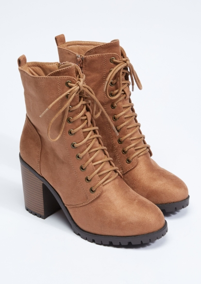 brown faux suede lace up stack heel hiker bootie - Main Image