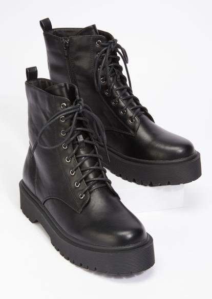 black faux leather lug sole combat boots - Main Image
