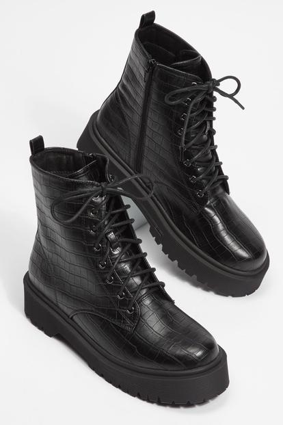 black faux crocodile platform combat boots - Main Image