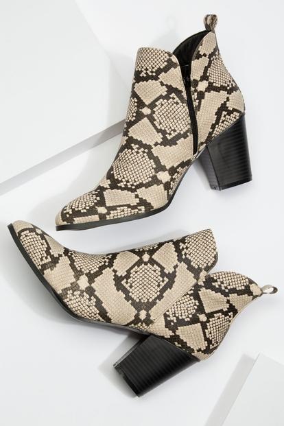 snakeskin print stacked heel booties - Main Image