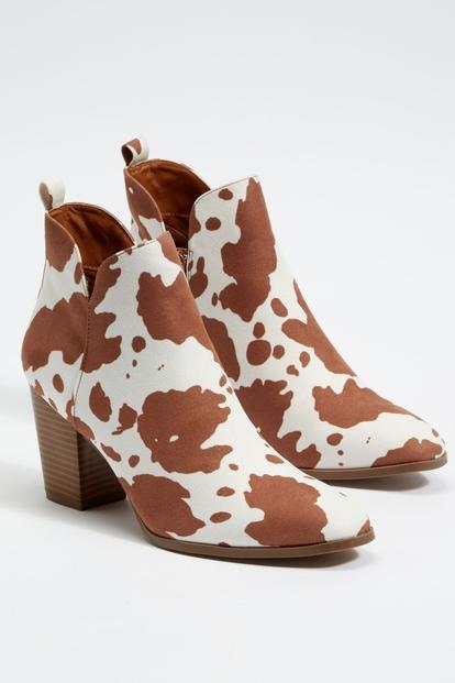 brown cow print stacked heel booties - Main Image