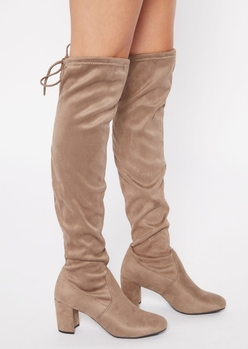 taupe block heel over the knee boots - Main Image