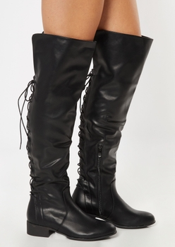 black lace up back over the knee boots - Main Image