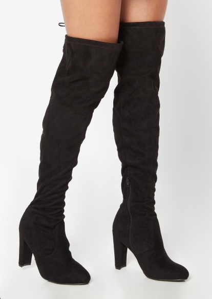 black faux suede over the knee heel boots - Main Image