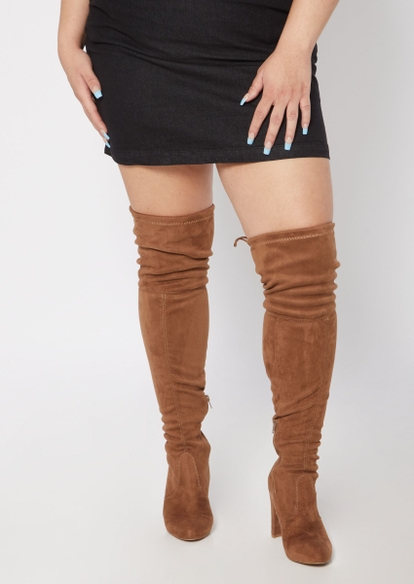 medium brown faux suede over the knee heel boots - Main Image