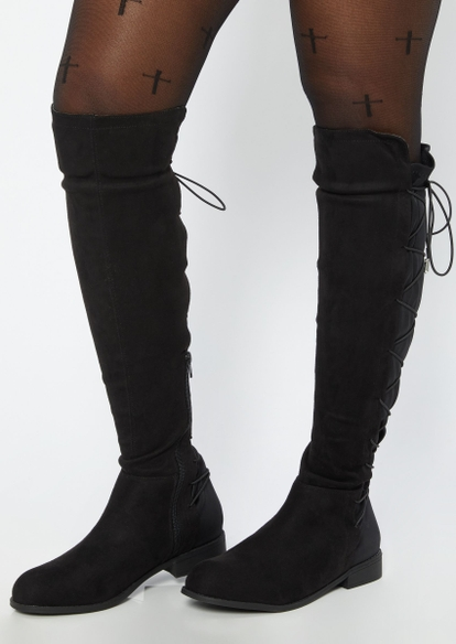black lace up back knee high boots - Main Image