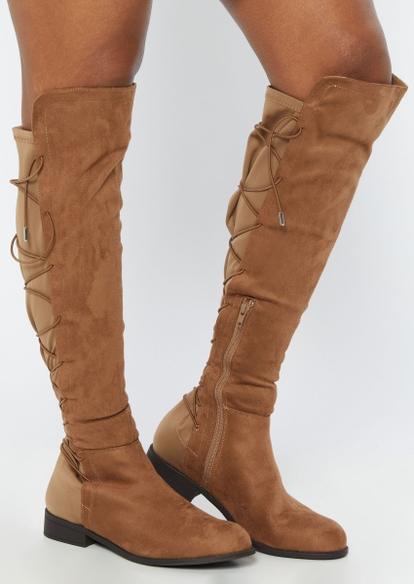 brown lace up back knee high boots - Main Image