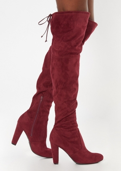burgundy heeled over the knee boots - Main Image