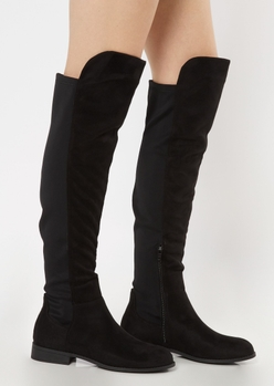 black faux suede over the knee flat boots - Main Image