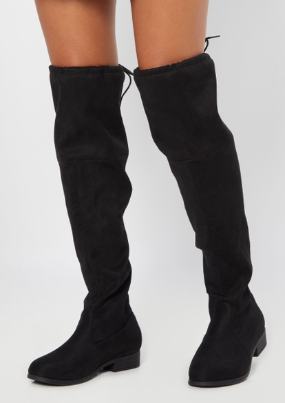 black faux suede over the knee flat boot - Main Image