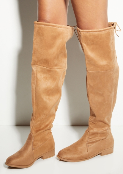 dark brown faux suede over the knee flat boot - Main Image