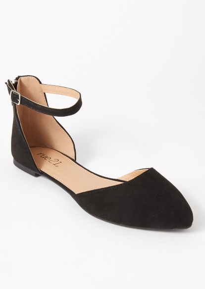 black ankle strap pointed flats - Main Image