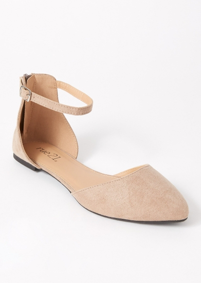 taupe ankle strap pointed flats - Main Image