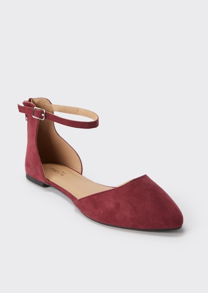 burgundy ankle strap pointed flats - Main Image
