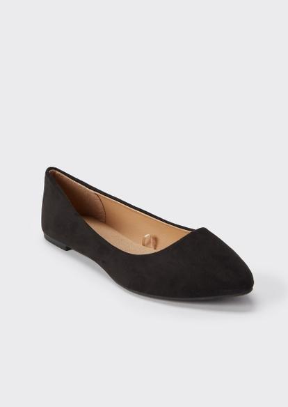 black pointed toe flats - Main Image