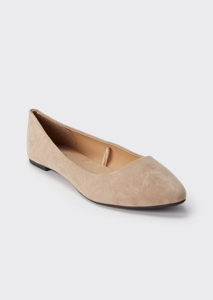 taupe pointed toe flats - Main Image