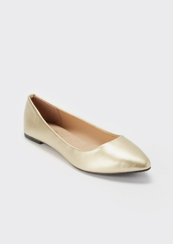 gold metallic pointed toe flats - Main Image