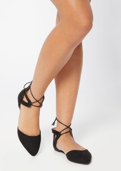 black pointed toe ankle tie flats - Main Image