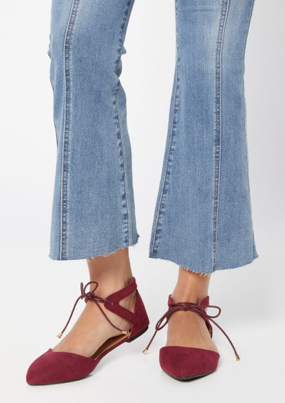burgundy pointed toe ankle tie flats - Main Image