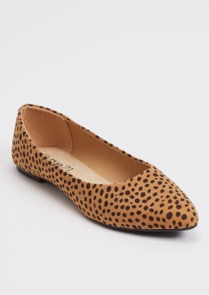 leopard print faux suede flats - Main Image