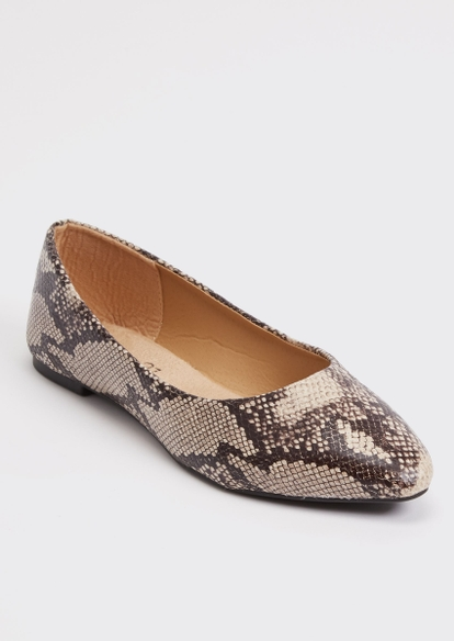 snakeskin faux leather flats - Main Image