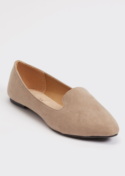 taupe faux suede loafer - Main Image
